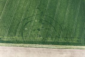 Aerial view of the vegetation features of a 7000 year old calendar building, a cult site from the Neolithic Age - Klaus Leidorf Aerial Photography