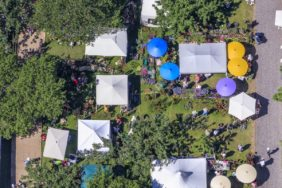 Aerial view of the Fürstenfeld Garden Days 2017 at Fürstenfeldbruck Monastery - Klaus Leidorf Aerial Photography