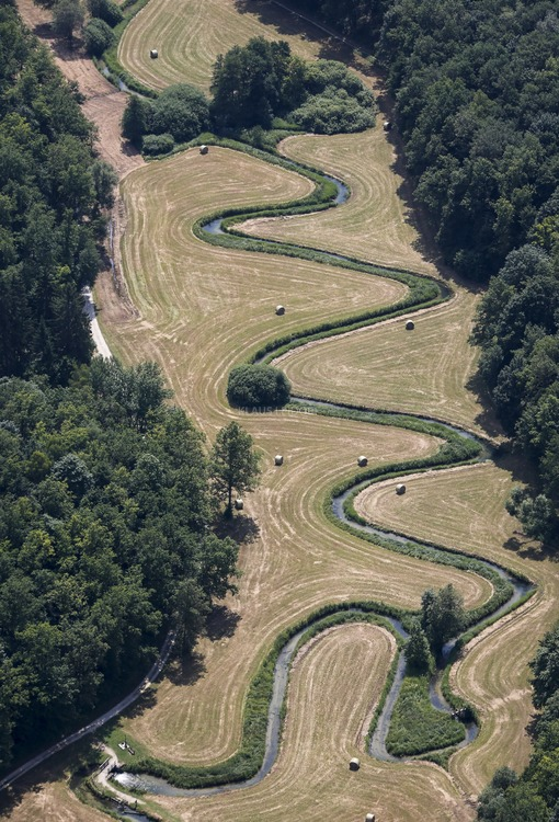 Aerial view of the loops of the Kainach near Hollfeld - Klaus Leidorf Aerial Photography