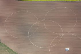 Aerial view of the preparations for a corn labyrinth in the field - Klaus Leidorf Aerial Photography