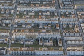 Aerial view of the blocks of flats in the new housing estate in Messestadt Riem - Klaus Leidorf Aerial Photography