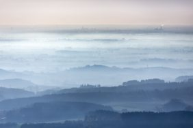 Aerial view of the evening mood when looking from the east towards Munich - Klaus Leidorf Aerial Photography