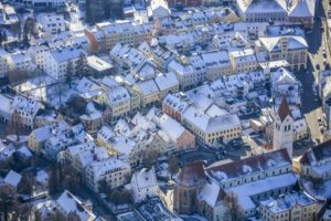 Aerial view of the old town in Moosburg a.d.isar in winter - Klaus Leidorf Aerial Photography