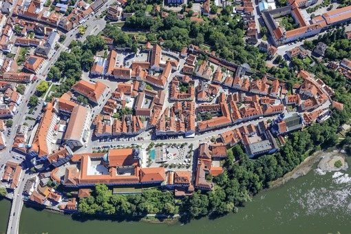 Aerial view of the old town in Neuburg a.d.Donau - Klaus Leidorf Aerial Photography