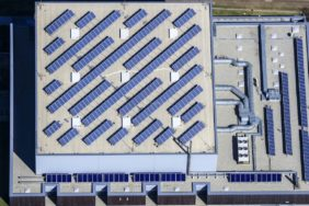 Aerial view of the ball sports hall in Vilsbiburg - Klaus Leidorf Aerial Photography