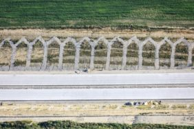 Aerial view of the construction site of the motorway 94 through the Isental valley near Außerbittlbach - Klaus Leidorf Aerial Photography