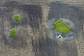 Aerial view of the construction site of a golf course extension near Colmberg - Klaus Leidorf Aerial Photography