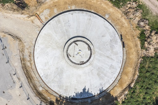 Aerial view of the construction site of a wind turbine - Klaus Leidorf Aerial Photography