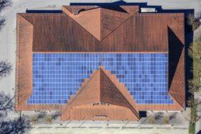 Aerial view of the roof landscape of the Stadthalle in Vilsbiburg - Klaus Leidorf Aerial Photography