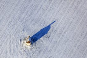 Aerial view of the field chapel near Thaldorf in winter - Klaus Leidorf Aerial Photography