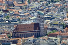 Aerial view of the Frauenkirche in the old town of Munich - Klaus Leidorf Aerial Photography