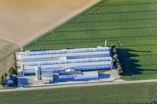Aerial view of the poultry breeding facility for several hundred thousand animals of the company Bayern-Ei in Niederharthausen - Klaus Leidorf Aerial Photography