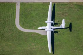 Aerial view of the Grob G850 Strato 2C at Mindelheim-Mattsies airfield - Klaus Leidorf Aerial Photography