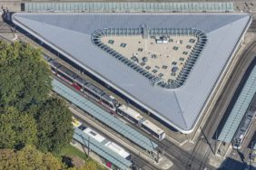 Aerial view of the Königsplatz public transport stop in Augsburg - Klaus Leidorf Aerial Photography