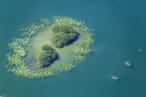 Aerial view of the island in Lake Soyen - Klaus Leidorf Aerial Photography