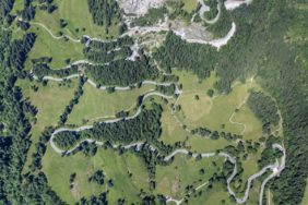 Aerial view of the Jochstraße near Hindelang, which climbs about 200 meters on this route - Klaus Leidorf Aerial Photography