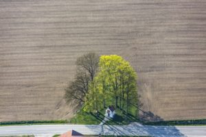 Aerial view of the chapel St. Barbara in Hofbruck - Klaus Leidorf Aerial Photography