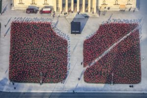 "Aerial view of the art installation ""Niemals Wieder"" by Walter Kuhn at Königsplatz in Munich - Klaus Leidorf Aerial Photography"
