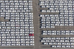 Aerial view of the new car delivery at Audi in Ingolstadt - Klaus Leidorf Aerial Photography