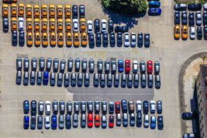 Aerial view of the Prinz Leopold Barracks in Regensburg, which is used as parking area for new Audis - Klaus Leidorf Aerial Photography