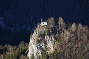 Aerial view of the Riederstein chapel on the Riederstein near Tegernsee - Klaus Leidorf Aerial Photography