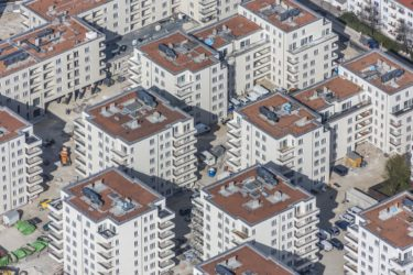Aerial view of the housing estate Faberstraße in Munich-Untersendling - Klaus Leidorf Aerial Photography