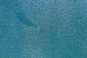 Aerial view of the new leisure sport Stand Up Paddling - Klaus Leidorf Aerial Photography