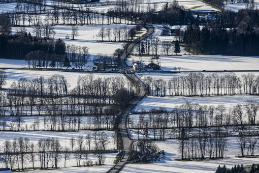 Aerial view of the winterly Haglandschaft in the district of Miesbach in Upper Bavaria - Klaus Leidorf Aerial Photography