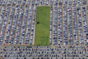 Aerial view of a parking lot near Ingolstadt for new cars of the Audi brand - Klaus Leidorf Aerial Photography