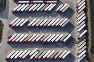 Aerial view of a parking area for trucks - Klaus Leidorf Aerial Photography