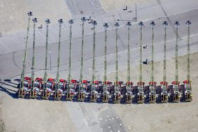 Aerial view of a ballet of the 15 ladder carriages of the Munich fire brigade - Klaus Leidorf Aerial Photography