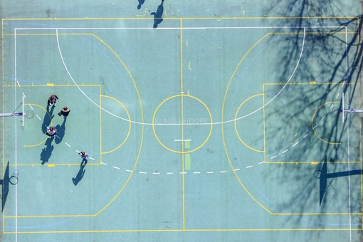 Aerial view of a basketball court in Ismaning - Klaus Leidorf Aerial Photography