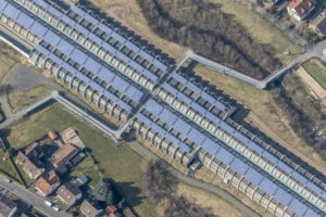 Aerial view of a foot and cycle path over the enclosed A3 motorway near Goldbach - Klaus Leidorf Aerial Photography