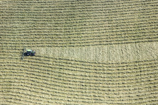 Aerial view of a tedder near Schlafthal - Klaus Leidorf Aerial Photography