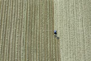 Aerial view of a tedder in Dettendorf - Klaus Leidorf Aerial Photography