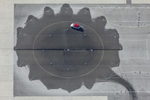 Aerial view of a Mini during the test drive on the BMW test track at the airport in Fürstenfeldbruck - Klaus Leidorf Aerial Photography