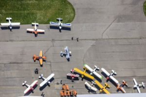 Aerial view of a vintage car meeting at Landshut airfield - Klaus Leidorf Aerial Photography