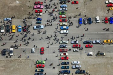 Aerial view of a classic car meeting at the Theresienwiese in Munich - Klaus Leidorf Aerial Photography