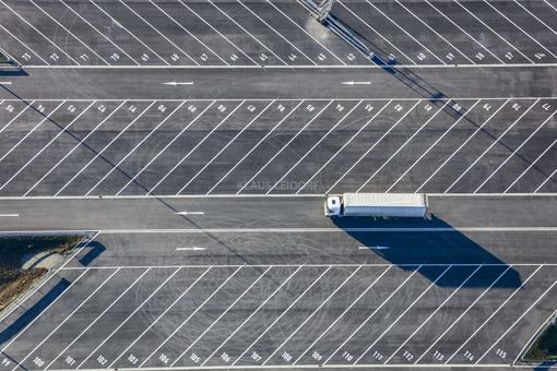 Aerial view of a parking lot for supplier trucks at the BMW plant in Dingolfing - Klaus Leidorf Aerial Photography