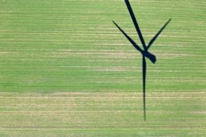 Aerial photograph of a shadow of a wind turbine - Klaus Leidorf Aerial Photography