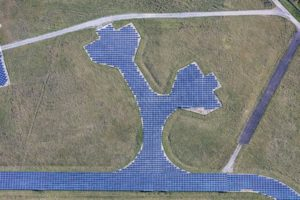 Aerial view of a solar field on the former military airfield Kitzingen - Klaus Leidorf Aerial Photography
