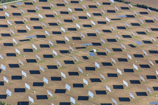 Aerial view of a solar field with tracked photovoltaic modules - Klaus Leidorf Aerial Photography