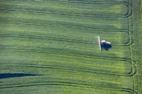 Aerial view of a tractor spraying in a cereal field - Klaus Leidorf Aerial Photography