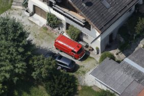 Aerial view of a VW T2 oldtimer of the fire department - Klaus Leidorf Aerial Photography