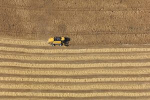 Aerial view of a yellow combine harvester at work - Klaus Leidorf Aerial Photography