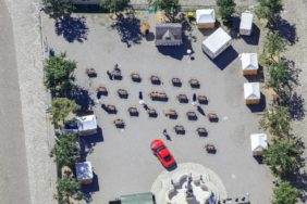 Aerial view of a red car on the Karlsplatz in Neuburg a.d.Donau - Klaus Leidorf Aerial Photography