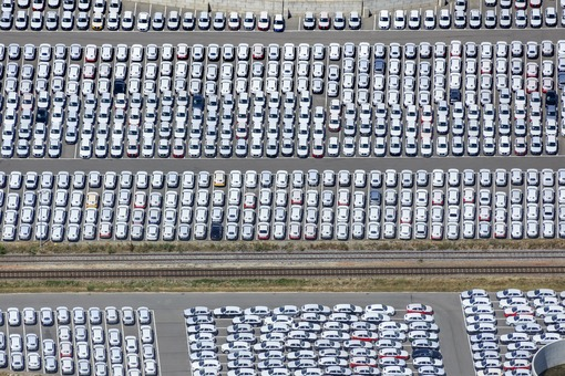 Aerial view of a parking area for new Audi vehicles in Schwandorf - Klaus Leidorf Aerial Photography