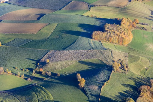 Aerial view of an agricultural landscape in autumn - Klaus Leidorf Aerial Photography