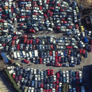 Aerial view of a car recycling plant - Klaus Leidorf Aerial Photography