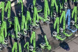 Aerial view of an excavator factory - Klaus Leidorf Aerial Photography